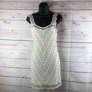 Free people SP silver& white lace dress sleeveless